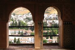 Alhambra Palace Granada Spain. Detail of two arch windows in Alhambra Palace, Granada, Spain Royalty Free Stock Photos