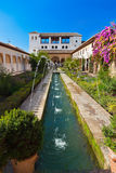 Alhambra palace at Granada Spain. Architecture and nature background Stock Photography