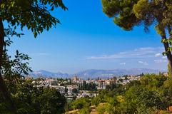 Alhambra palace at Granada Spain. Architecture and nature background Stock Photos