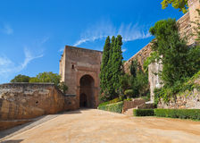 Alhambra palace at Granada Spain. Architecture and nature background Royalty Free Stock Photos