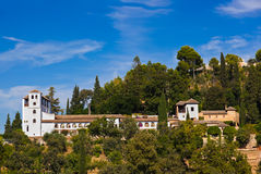 Alhambra palace at Granada Spain. Architecture and nature background Royalty Free Stock Photography