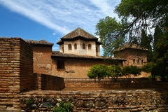 Alhambra palace at Granada Spain. Old arabic palace of Alhambra, Granada, Spain royalty free stock images