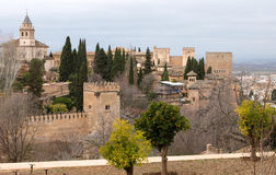 Alhambra palace. And its guard towers Royalty Free Stock Photos