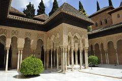 Alhambra, Palace of Lions, Granada, Spain. Palacio del los Leones (=Palace of Lions) inside the famous Alhambra complex, Granada, Spain Stock Photos