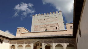 Alhambra Palace - medieval moorish castle in Granada, Andalusia, Spain stock video