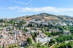Alhambra. Palace mountain view over the Granada city royalty free stock images