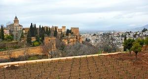 Alhambra Palace and the neighborhood of Albaicin, Granada, Spain Stock Images