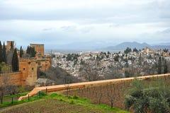 Alhambra Palace and the neighborhood of Albaicin, Granada, Spain Stock Image