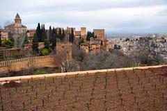 Alhambra Palace and the neighborhood of Albaicin, Granada, Spain Stock Photography