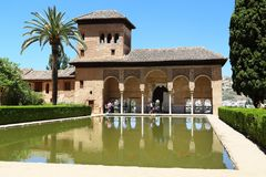 Alhambra: Palace Portal in the Gardens of Paraiso, Granada. GRANADA, SPAIN - MAY 20, 2017: This is the Portal Palace in the Paraiso Gardens in the Alhambra stock photo