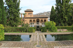 Alhambra palace, Spain. The Alhambra is a palace and fortress complex located in Granada, Andalusia, Spain. It was originally constructed as a small fortress in royalty free stock photos