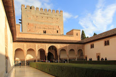 Alhambra palace, Spain. The Alhambra is a palace and fortress complex located in Granada, Andalusia, Spain. It was originally constructed as a small fortress in royalty free stock images