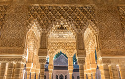 Alhambra palace in Spain. Nice courtyard in Alhambra Palace in Spain stock photos