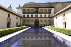 Alhambra Palace and tourists- medieval moorish castle in Granada, Andalusia, Spain Royalty Free Stock Images