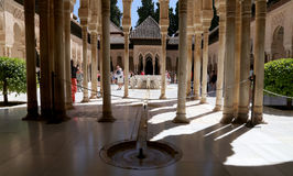 Alhambra Palace and tourists- medieval moorish castle in Granada, Andalusia, Spain Stock Images