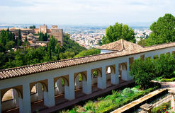 Alhambra palace and view of Granada city Royalty Free Stock Photos
