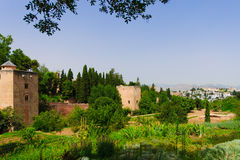 Alhambra palace and view of Granada city, Spain Royalty Free Stock Image