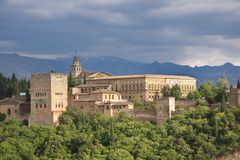 Alhambra Palace. View from a hill Stock Photos