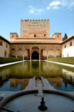 Alhambra palace and waterfountain. The waterfountain in front of the palace in the Alhambra in Granada Stock Photos