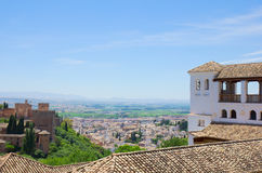 Alhambra palaces and city of Granada, Spain Royalty Free Stock Photo
