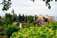 Alhambra-Palast und Ansicht der Granada-Stadt Stockbilder