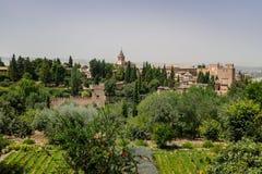 Alhambra-Palast und Ansicht der Granada-Stadt Lizenzfreie Stockfotografie