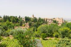 Alhambra-Palast und Ansicht von Granada-Stadt, Spanien Stockbild