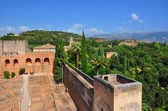 Alhambra paleis en tuinen, Granada, Spanje stock fotografie