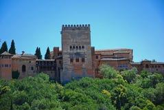Alhambra paleis, mening van Albayzin Stock Fotografie
