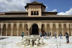 Alhambra, Paleis van Leeuwen, Granada, Spanje Royalty-vrije Stock Afbeeldingen