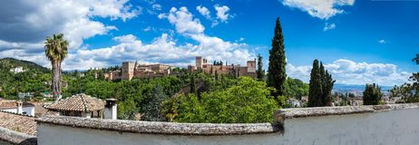 Alhambra panorama Royalty-vrije Stock Foto's
