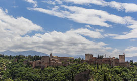 Alhambra panorama. Moorish fortress Alhambra in Granada, viewed from Albaicin Royalty Free Stock Image