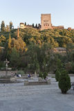 Alhambra from park. View of the Alhambra from the Paseo de los Tristes Royalty Free Stock Photo