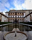 Alhambra, Patio de los Arrayanes, Spain. The biggest patio in the Nasrid palace of Alhambra stock photo