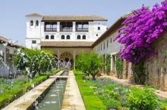 Alhambra-Patio in Granada stockbilder