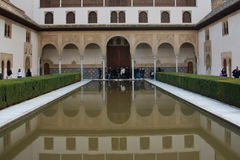 Alhambra pool. Photo of a pool inside the famous arabic Alhambra fortress in Granada, Spain surrounded by tourists royalty free stock photo