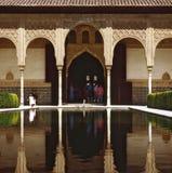 Alhambra. Pool in gardens, Alhambra,Spain stock photo