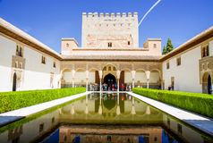 Alhambra pool. Visiting Alhambra Palace at Granada,Spain, on UNESCO list stock photo