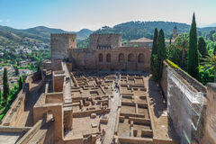 Alhambra ruins. Alhambra old ruins, walls of former buildings Stock Image