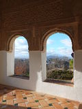 Alhambra's Stone Panel Carving Stock Photo