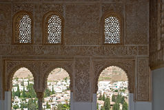 Alhambra's window. Intricate windows, Alhambra, Granada, Spain Royalty Free Stock Photos