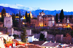 Alhambra with Sierra Nevada in  background.  Granada Stock Photography