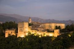alhambra skymning Royaltyfri Bild