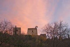 Alhambra slottdetaljer på skymning Fotografering för Bildbyråer