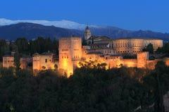 Alhambra am Sonnenuntergang Lizenzfreies Stockfoto