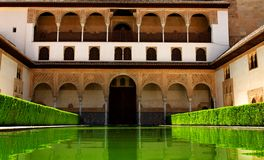 Alhambra in Spain. Water pool at the Alhambra Palace in Andalucia, Spain Stock Images
