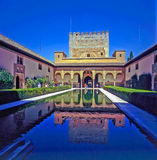Alhambra, Spain. Court with pool in Alhambra, Spain stock photo