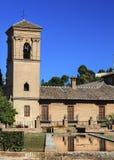 Alhambra Stone Building Reflection Granada Andalusia Spanje Stock Foto's