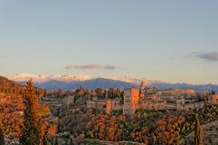 Alhambra Sunset Immagini Stock Libere da Diritti