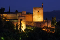 Alhambra after sunset Stock Photos